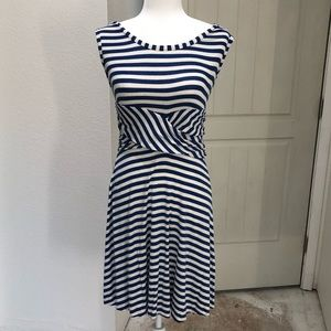 EUC Studio M Blue and Cream Dress